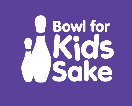 Bowl for Kids Sake logo on purple english